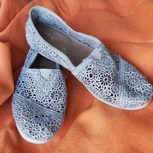 Toms Gray Lace Crochet Slip On